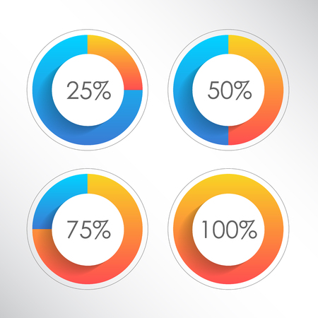 Set of colorful ring percentage diagrams for infographics. 25, 50, 75, 100. Vector illustration Illustration