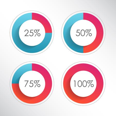 Set di diagrammi percentuali cerchio colorato per infografica. 25, 50, 75, 100. Illustrazione vettoriale Vettoriali