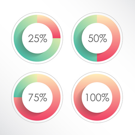Satz bunte Ringform-Prozentsatzdiagramme für Infografiken. 25, 50, 75, 100. Vektorillustration