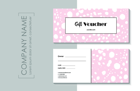 Gift voucher template with abstract pink modern pattern. Illustration