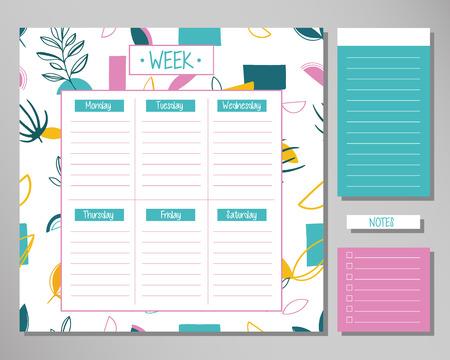 Agenda settimanale con elementi floreali carini. Modello di progettazione del programma