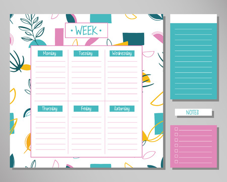 Weekly planner with cute floral elements. Schedule design template