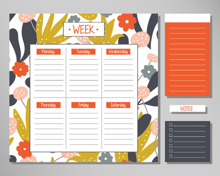 Weekly planner with modern floral elements. Schedule design template Çizim