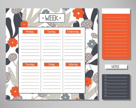 Weekly planner with floral elements. Schedule design template