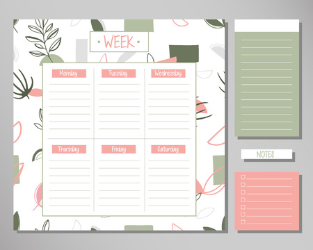 Weekly planner with amazing floral elements. Schedule design template 向量圖像