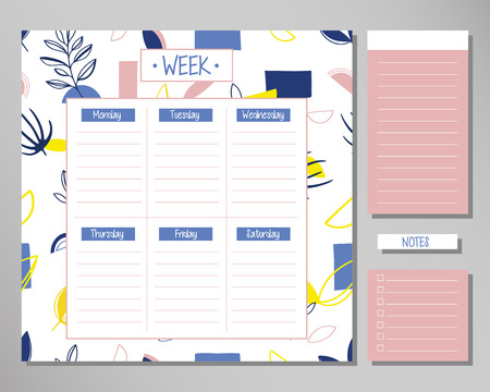 Weekly planner with creative floral elements. Schedule design template Çizim