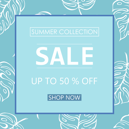 Up to 50 % off Sale. Discount offer price sign. Special offer symbol. Summer sale. Blue leaf pattern background Illusztráció