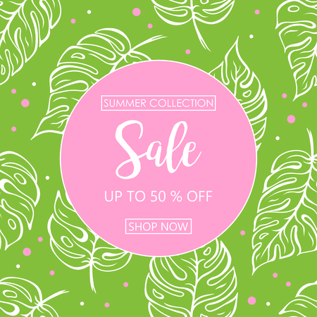 Up to 50 % off Sale. Discount offer price sign. Special offer symbol. Summer sale. Green leaf pattern background 일러스트