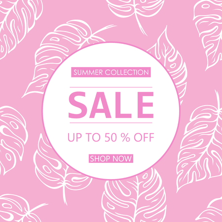 Up to 50 % off Sale. Discount offer price sign. Special offer symbol. Summer sale. Pink leaf pattern background