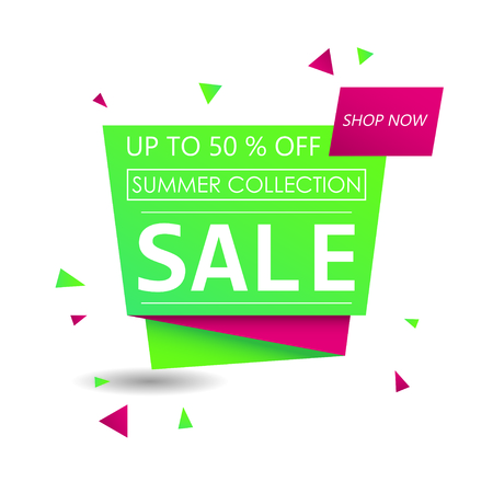 Up to 50 % off Sale. Discount offer price sign. Special offer symbol. Summer collection sale. Green shopping banner Illusztráció