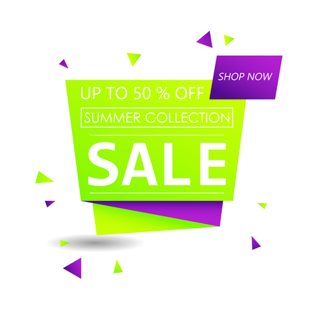 Up to 50 % off Sale. Discount offer price sign. Special offer symbol. Summer collection sale. Yellow shopping banner