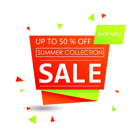 Up to 50 % off Sale. Discount offer price sign. Special offer symbol. Summer collection sale. Red shopping banner