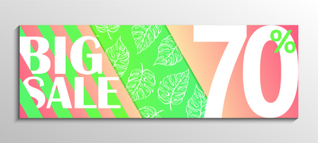 Up to 70% off Sale. Big Sale. Leaf pattern background