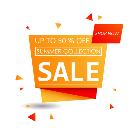 Up to 50 % off Sale. Discount offer price sign. Special offer symbol. Summer collection sale. Orange shopping banner
