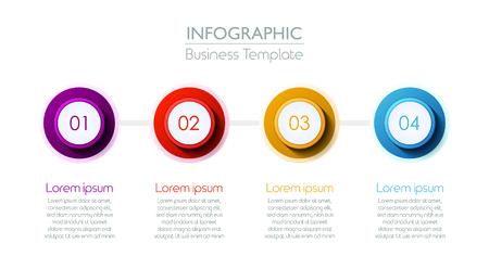 Four Steps Timeline Slide Template. Vector illustration