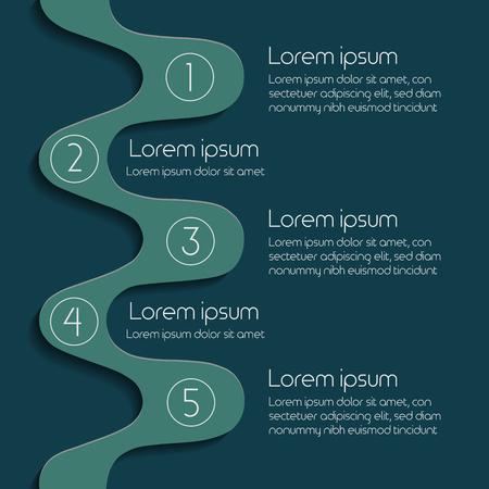 5 stage Infographic Diagram Slide Template. Vector illustration