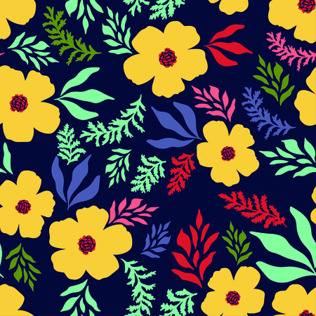 Amazing abstract floral seamless pattern. Vector illustration