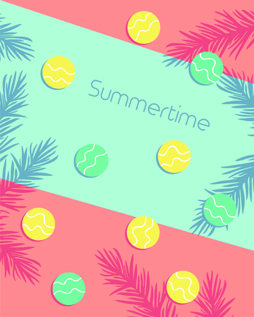 Summertime lettering with circles and leaf pattern background. Vector illustration 写真素材 - 130059677