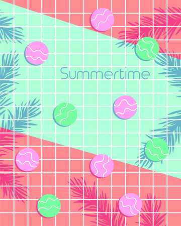 Summertime lettering with colorful circles and leaf pattern background. Vector illustration
