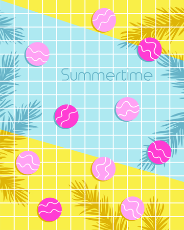 Summertime lettering with circles and monstera leaf pattern background. Vector illustration