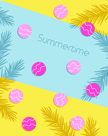 Summertime lettering with circles and leaf pattern background greeting card. Vector illustration 写真素材 - 130059680