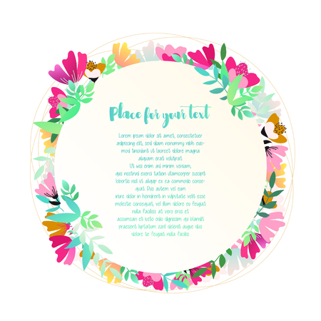 Beautiful greeting card with floral round frame with place for text. Vector illustration