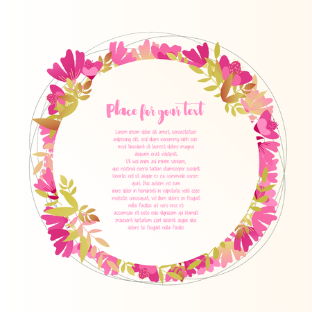 Cute greeting card with floral round frame with place for text. Vector illustration Stock Illustratie