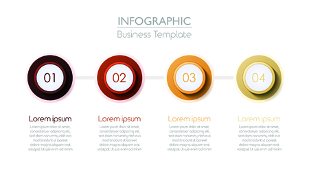 Four Connected Circles Slide Template. Vector illustration