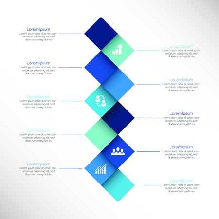 Infographic design layout with rectangular elements, text boxes and thin line icons. Stages of project development concept. Vector illustration for website, report, presentation, brochure. Иллюстрация