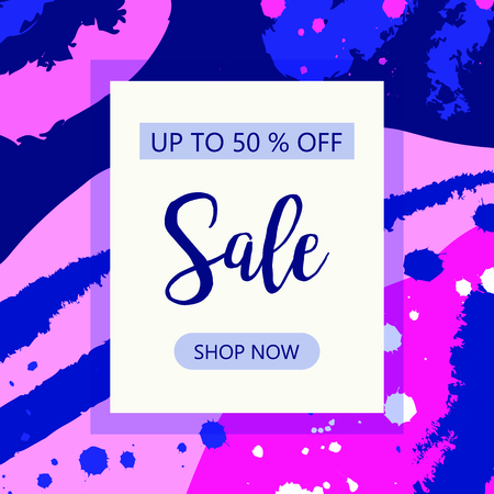 ale. Vector sale abstract background. Sale banner template - take up to 50% off. Shop now Illusztráció