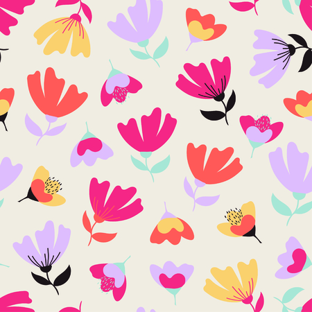 Colorful abstract floral seamless pattern. Vector illustration