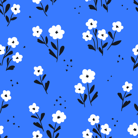 Simple white flowers pattern over blue background. Vector illustration