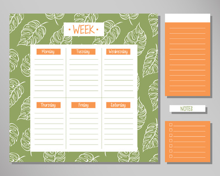 Weekly planner with green leaf elements. Schedule design template