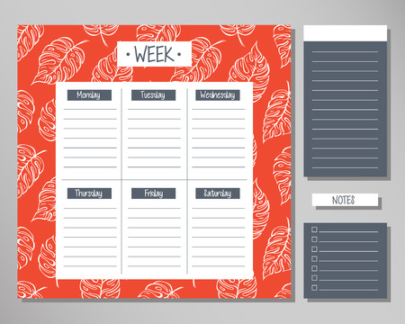Weekly planner with red leaf elements. Schedule design template