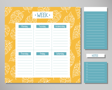 Weekly planner with yellow leaf elements. Schedule design template