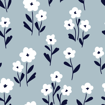 Simple white flowers pattern over gray background. Vector illustration