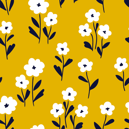 Simple white flowers pattern over yellow background. Vector illustration