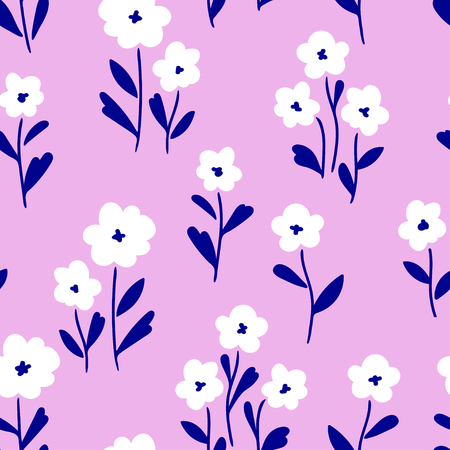 Simple white flowers pattern over pink background. Vector illustration