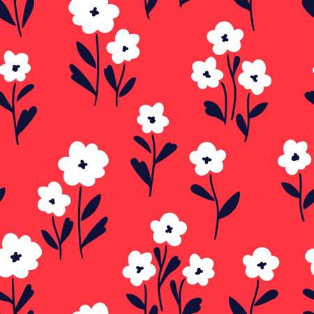 Simple white flowers pattern over red background. Vector illustration