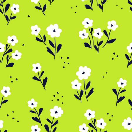 Simple white flowers pattern over green background. Vector illustration
