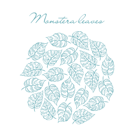 Monstera tropical blue leaves circle. For design, print and more Illustration