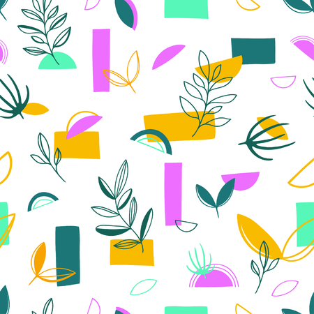 Abstract trendy style geometry seamless pattern background with leaves. Trendy creative vector Stock Illustratie