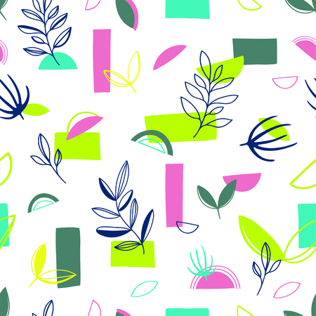 Abstract modern trendy style seamless pattern background with leaves. Trendy creative vector