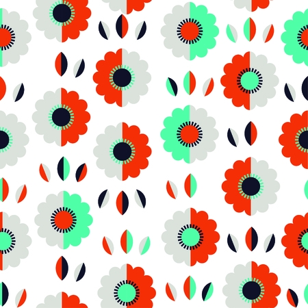 Abstract floral pattern with flowers and leaves. Vector illustration