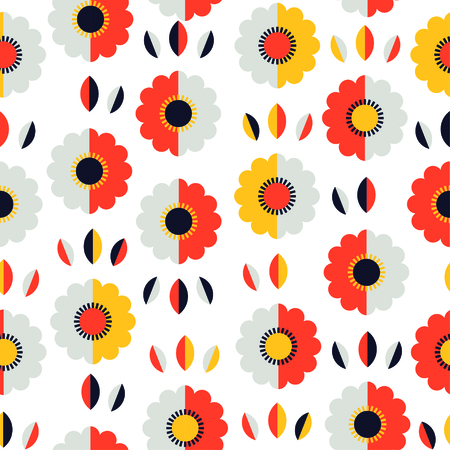 Abstract pattern with flowers and leaves. Vector illustration