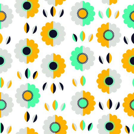 Abstract yellow and blue pattern with flowers and leaves. Vector illustration