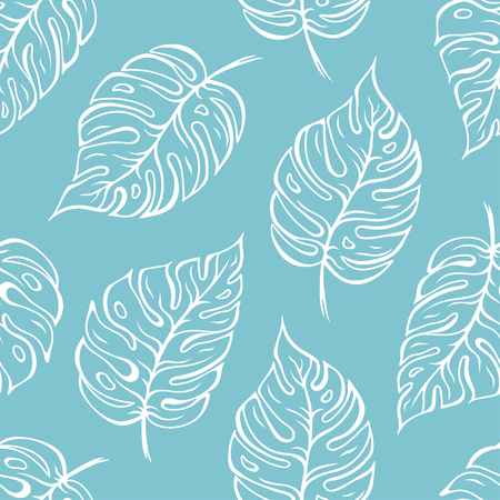 Monstera leaves seamless outline pattern over light blue background. Vector illustration