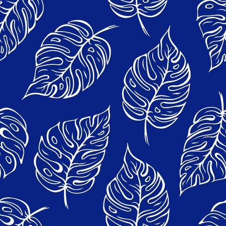 Monstera leaves seamless outline pattern over blue background. Vector illustration Stock Illustratie