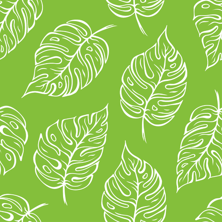 Monstera leaves seamless outline pattern over green background. Vector illustration