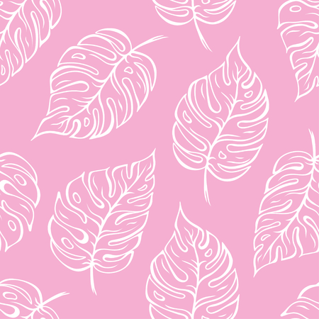 Monstera leaves seamless pattern. Vector illustration